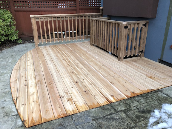 Sunken deck cedar wood custom carpentry