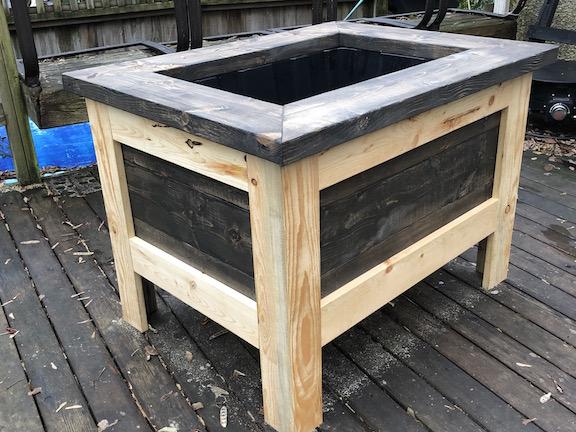 Rectangular wood garden planter box
