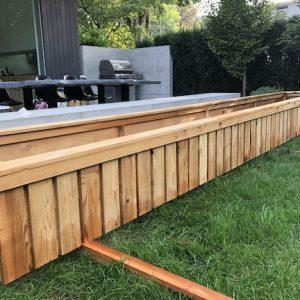 Custom bespoke wood planter box cedar siding