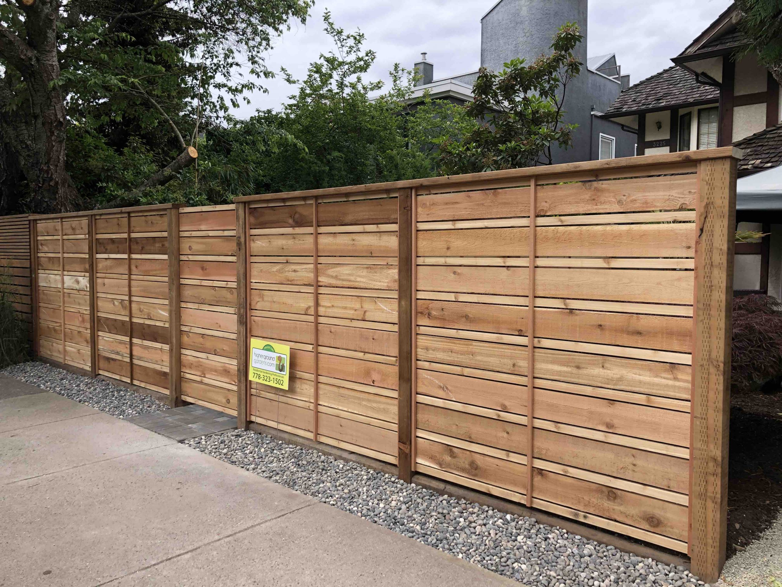 Horizontal style cedar fence vancouver bc landscaping carpentry professionals