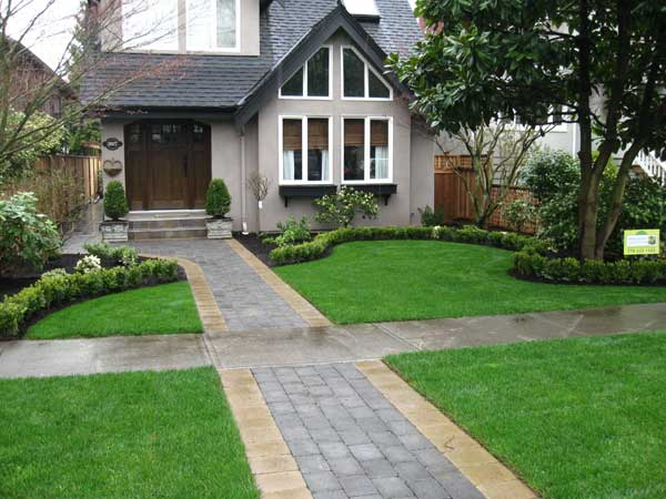 Concrete paver pathway two tone landscape construction vancouver bc higher ground gardens