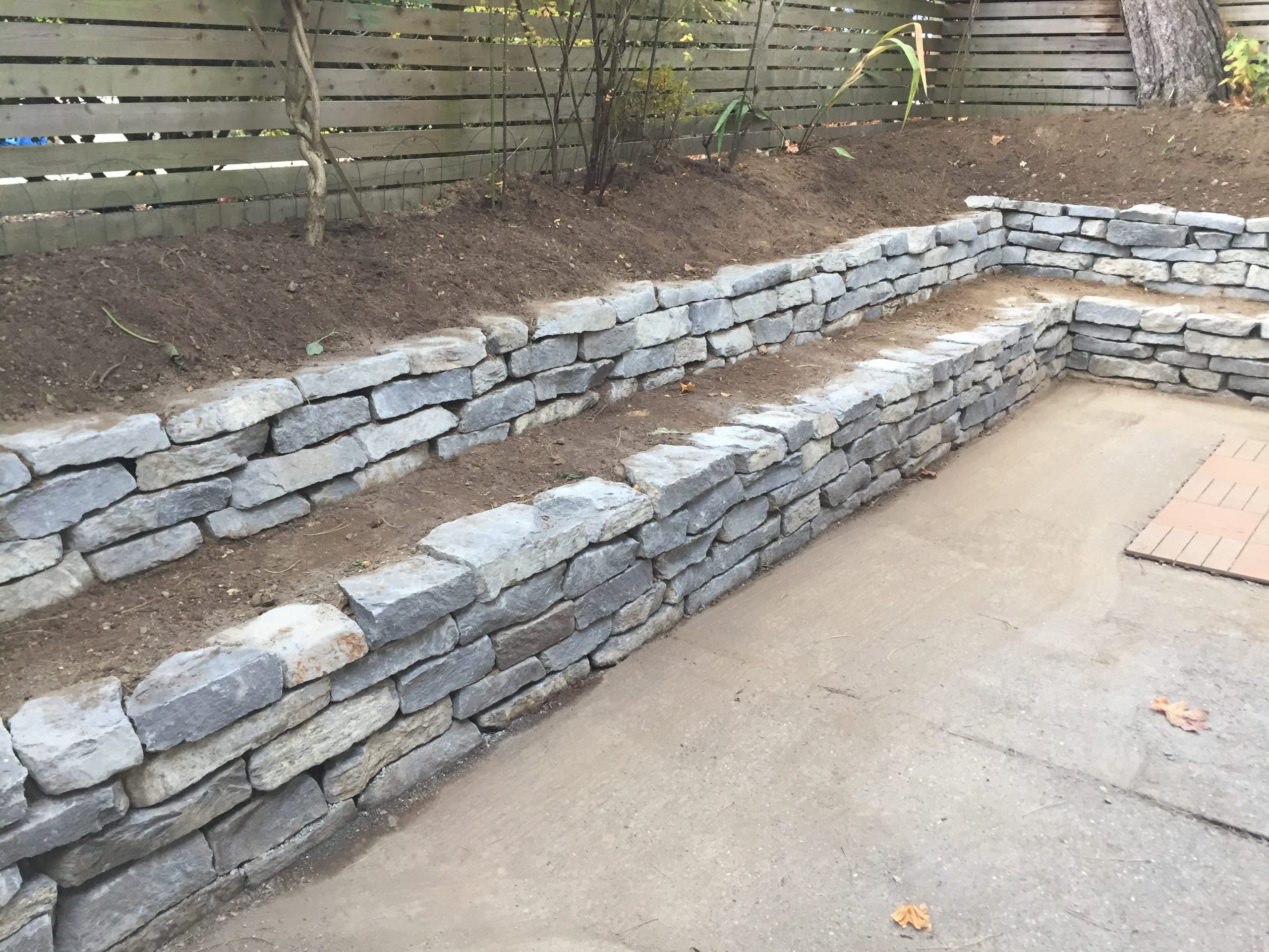 Dry stacked Basalt rock walls landscaping vancouver