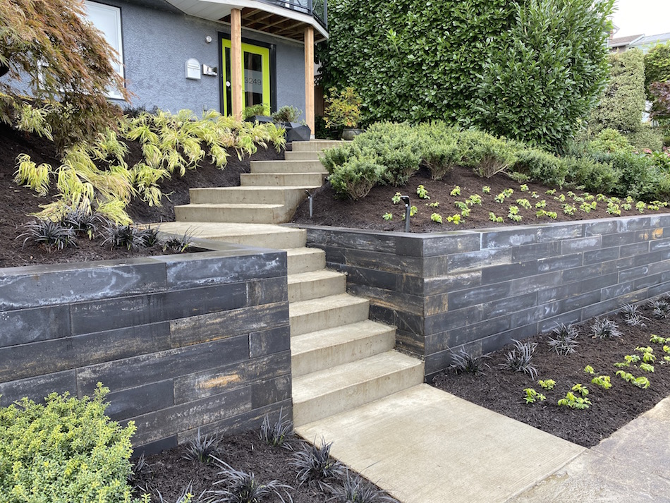 Architectural concrete retaining wall landscape construction vancouver bc installation professionals