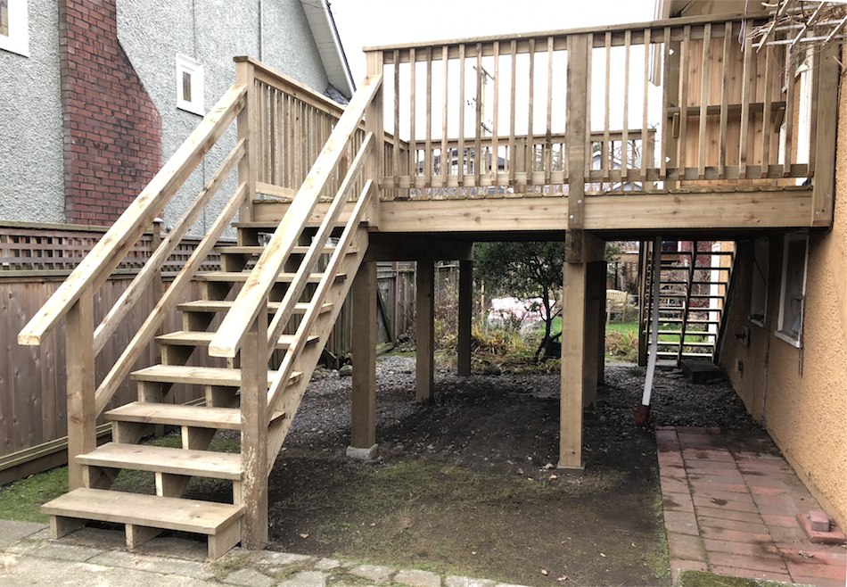 custom raised deck pressure treated for duplex landscaping carpenter vancouver bc
